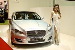 Jaguar XJ with sexy presenter at the 36th Bangkok International Motor Show