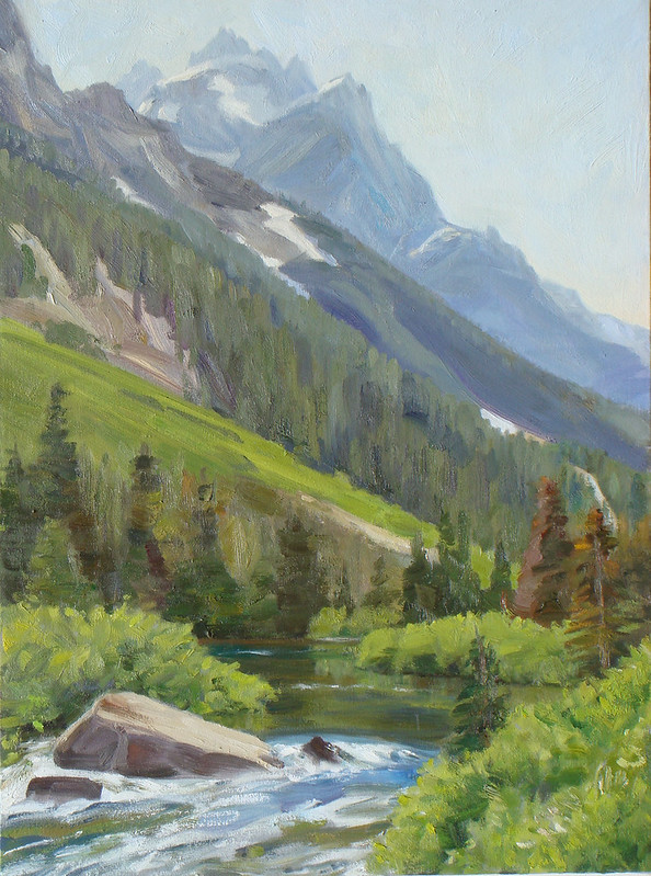 Oil on linen | 24 x 18 inches | Not Available | Notes: Following Cascade Canyon into the heart of the Tetons there are views reminiscent of the Swiss Alps; the greenery, the stream, the upward sweep of the lofty summits above. In this painting Mt owen dominates and the Grand is seen faintly to the left of it.