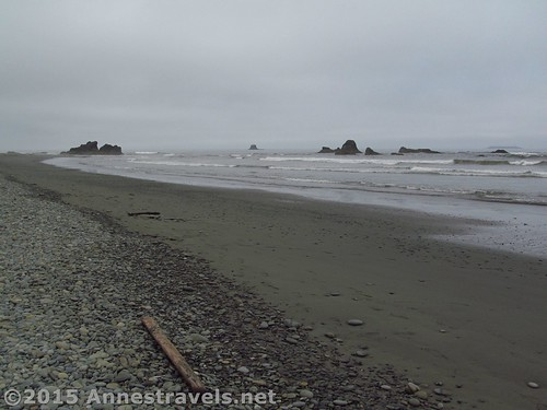 Looking south from near the bottom of the trail on Ruby Beach, Olympic National Park, Washington