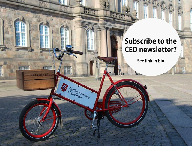 The CED bicycle in front of Christiansborg Castle