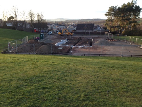 Car park resurfacing underway in Gillies Park Broughty Ferry, March 2015