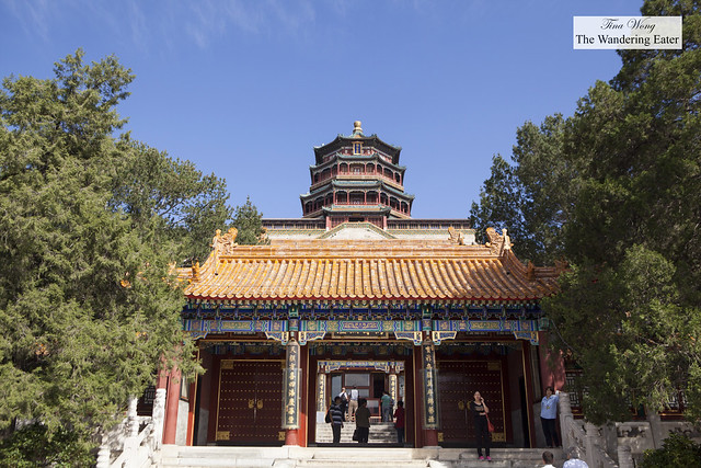 Looking up to the Tower of Buddhist Incense (Foxiangge) at Summer Palace, Beijing, China