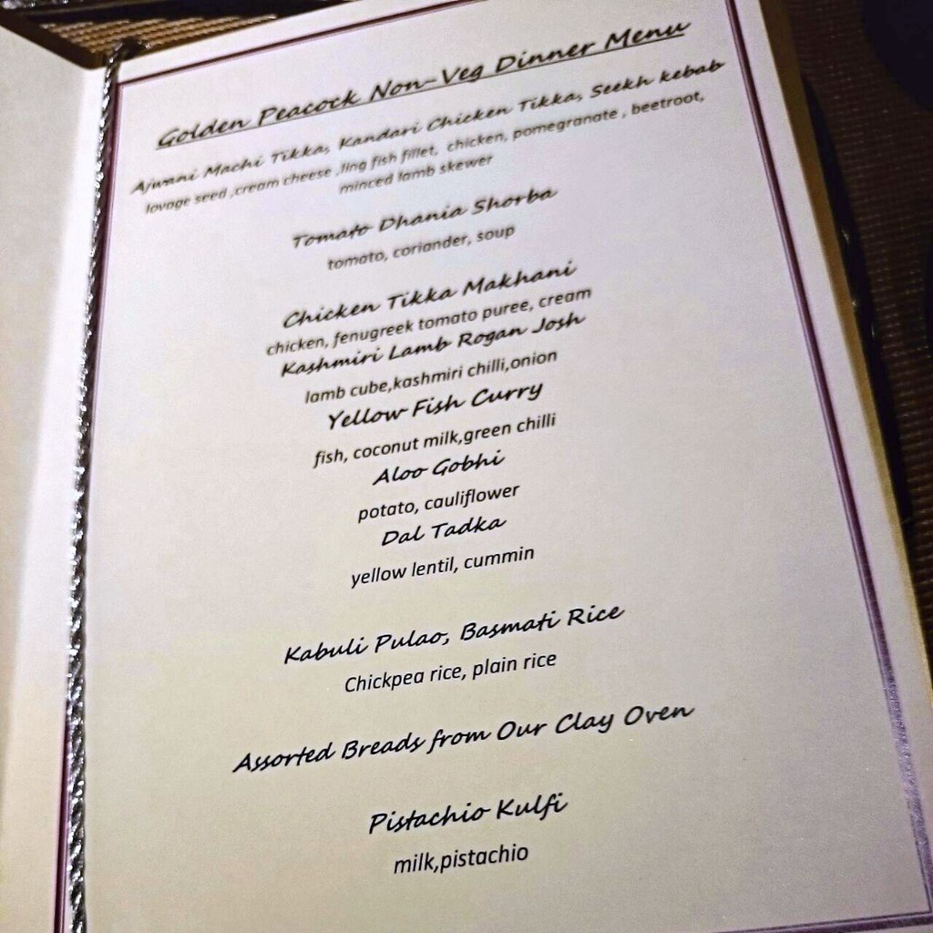 menu - Golden Peacock - indian restaurant Venetian Macau-002