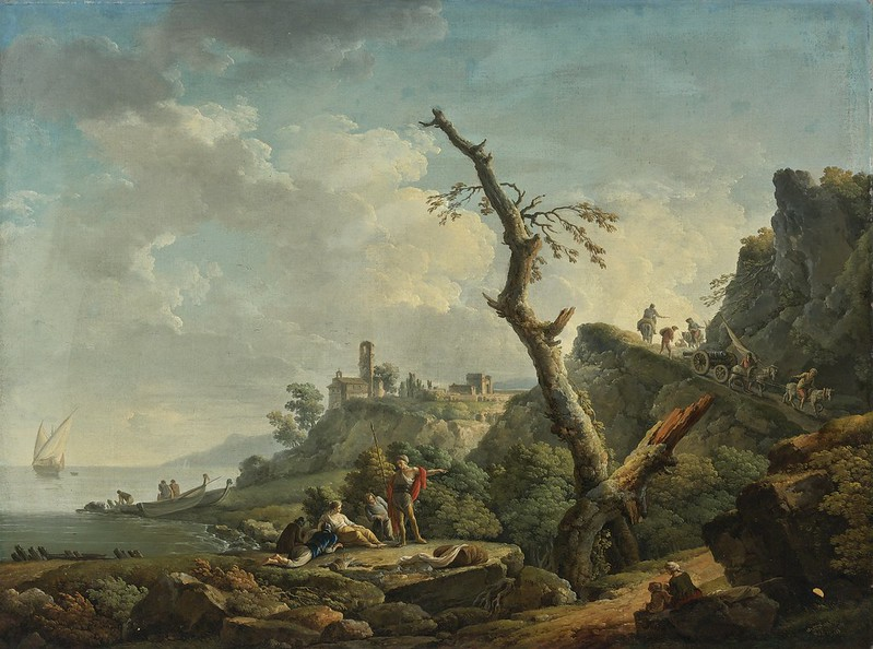 Carlo Bonavia - A river landscape with figures reclining in the foreground