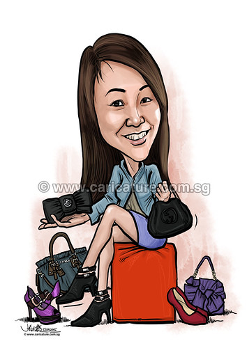 Elica digital caricature with branded handbags and shoes for PropertyGuru (watermarked)