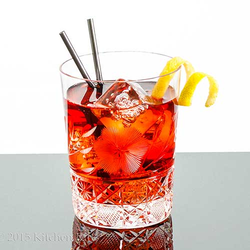 The Rosita Cocktail in Old-Fashioned glass with lemon twist garnish