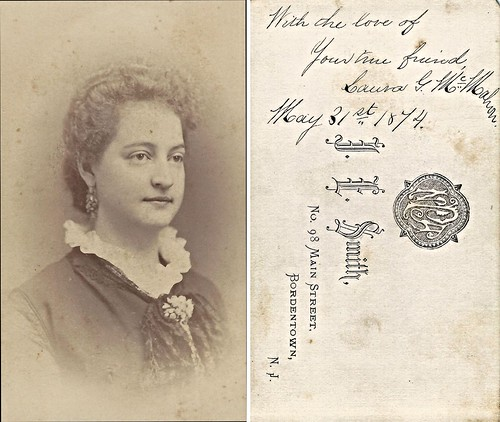 Laura McMahon, 1874, Bordentown Female College (CDV by J.E. Smith, 98 Main Street, Bordentown, New Jersey)