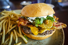 Burger w/ Horseradish, Fried Pickles, Bacon, Chedd…