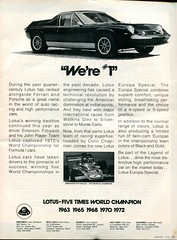 1973 Lotus Europa Special Advertisement Motor Trend January 1973