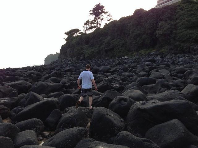 Exploring the tide pools at Jungmun Beach