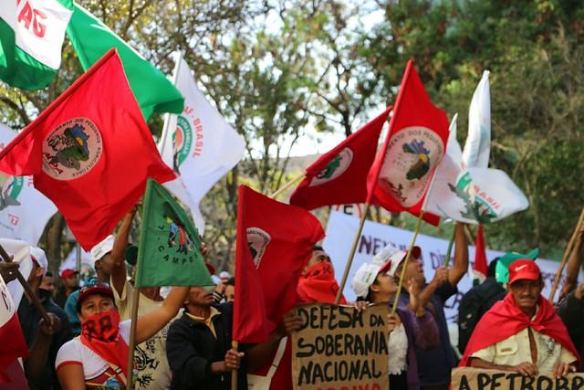 Movimentos da causa agrária em protesto na Esplanada dos Ministérios  - Créditos: Bruno Pilon/MPA
