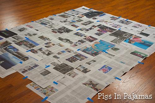 Newspaper base for basting