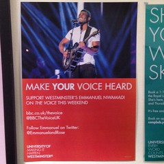 Support around campus for @EmmanuelRose for #BBCTheVoiceUK #TeamRicky #Harrow #semifinals #uniwest