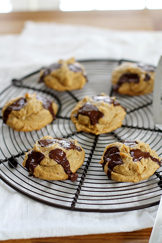 Four-Ingredient Peanut Butter Chocolate Chunk Cookies | girlversusdough.com @stephmwise