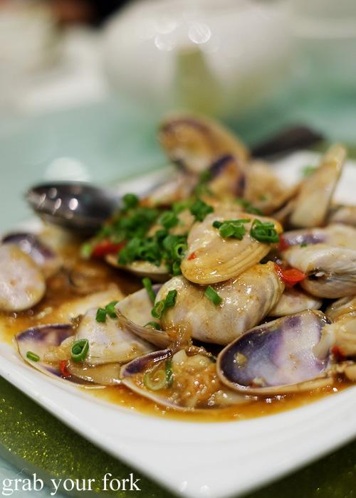 Pipis with XO sauce at Golden Palace Seafood Restaurant, Cabramatta