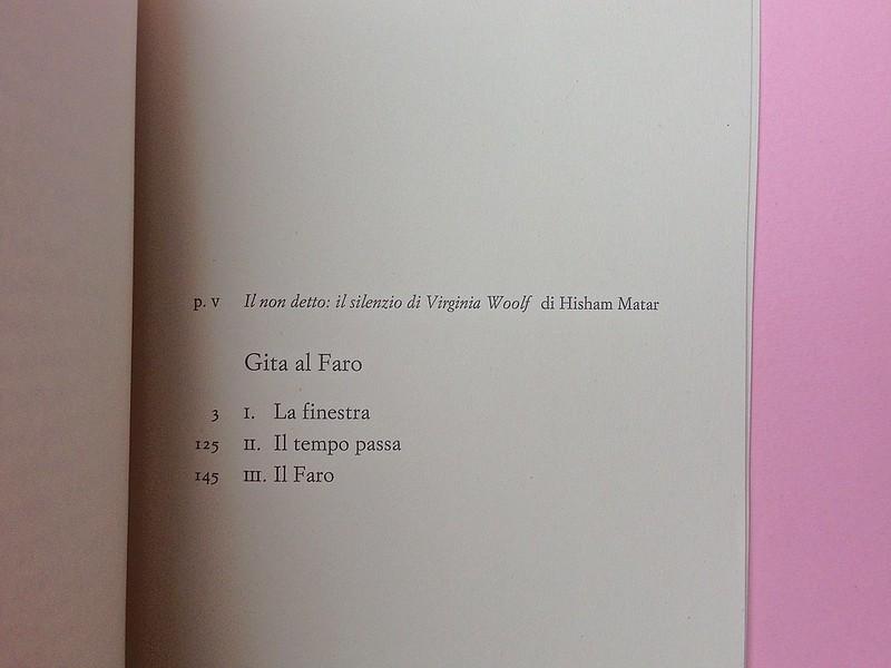 Virgina Woolf, Gita al Faro. Einaudi 2014. Progetto grafico di 46xy. Indice, a pag. 211  (part.), 1