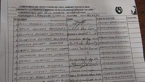 """Aparecen en redes sociales """"compromisos de voto"""" a favor de priista en Villa de Arriaga"""