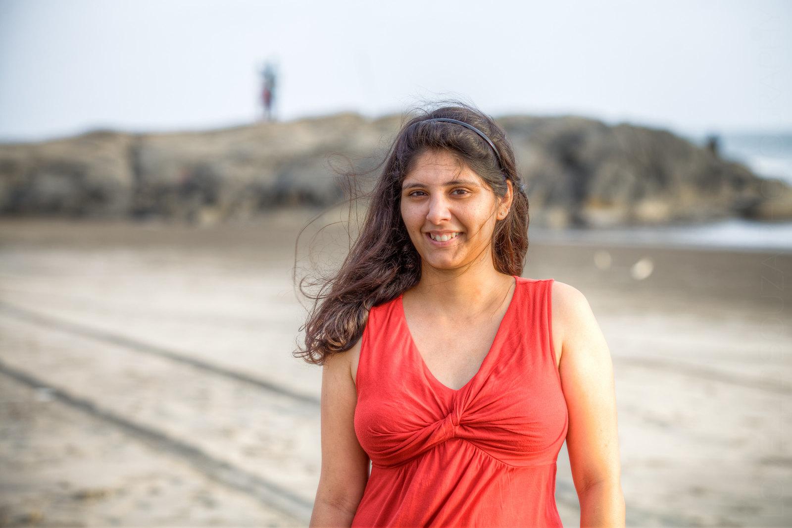 Priya at the Ashwem Beach