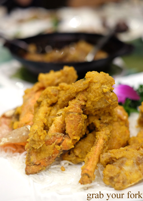 Mud crab with salted egg yolk at Golden Palace Seafood Restaurant, Cabramatta