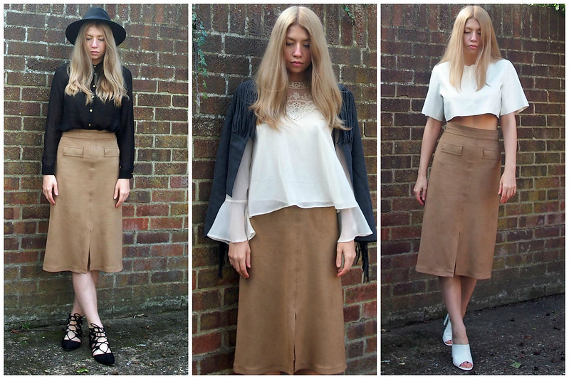 SS15, Marks and Spencer, Suede Midi Skirt, Suedette, Faux, Dupe, Front Split, How to Wear, Styling Ideas, Outfit Inspiration, Seventies, 1970s Style, Vintage Style, High Street, UK Fashion Blog, London Style Blogger, Sam Muses