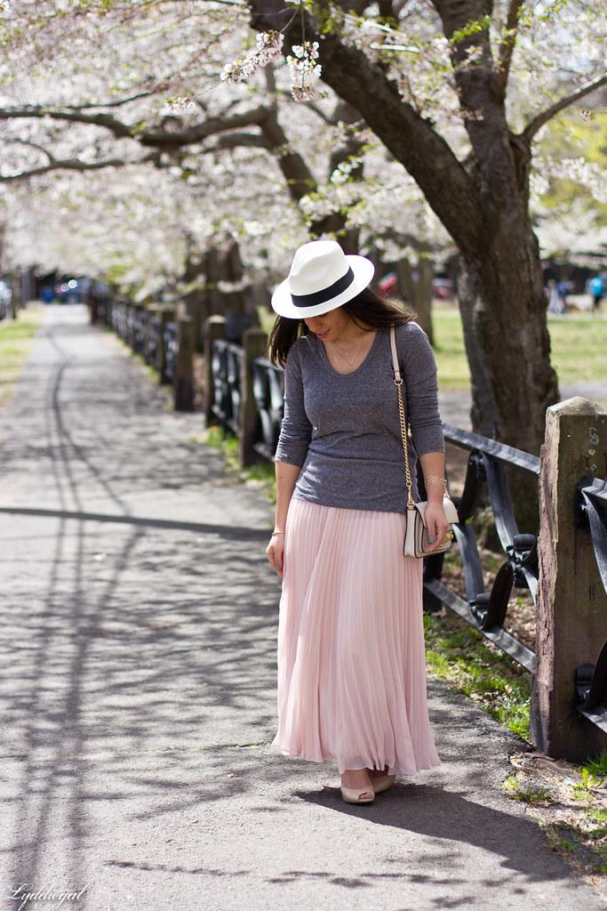 pleated maxi skirt, grey tee, panama hat-1.jpg