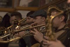 tuba(0.0), classical music(1.0), musician(1.0), trumpet(1.0), trombone(1.0), musical ensemble(1.0), musical instrument(1.0), music(1.0), jazz(1.0), brass instrument(1.0),