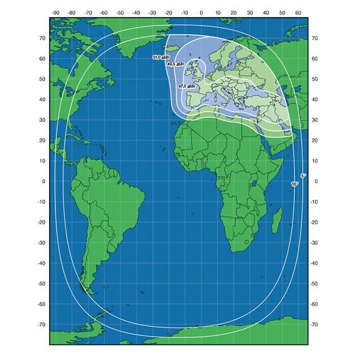 Зоны покрытия спутника Экспресс-АМ8
