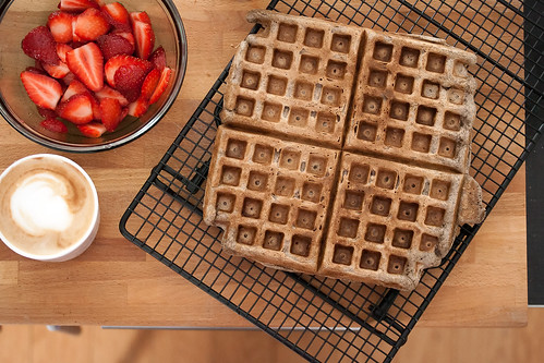 Buckwheat Waffles with Macerated Strawberries