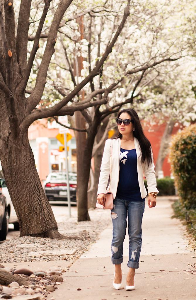 cute & little blog | petite fashion | white blazer, eve of eden silver swallows shirt, distressed boyfriend jeans, minkoff love crossbody, white pumps | spring outfit