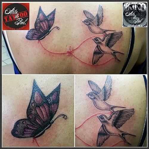 #mariposa #golondrinas #hilorojo #espalda #tattooarteypiel #tatuajes #artisticos #leviathoth #isaaccelis #aguascalientes #mexico #tattooink #tattooart #tattooist #tattoo