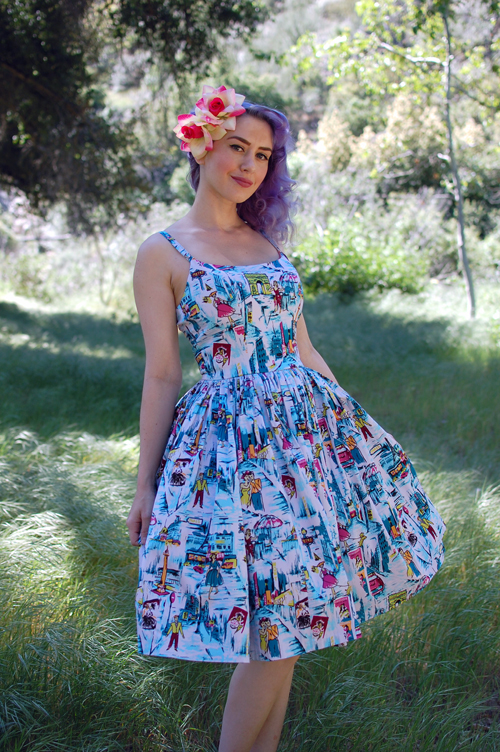 Pinup Girl Clothing Jenny dress in Paris print 009