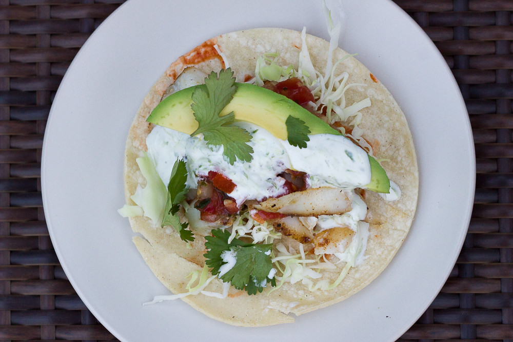 Lazy grilled fish tacos