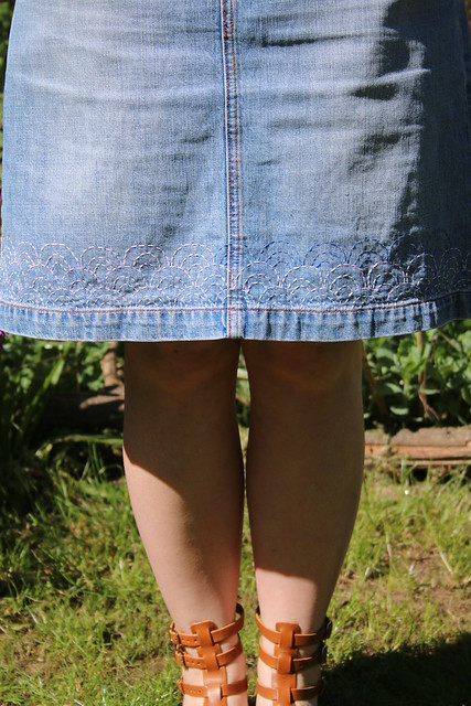 Customised Denim Skirt with Sashiko Style Stitches