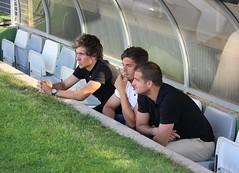 Prosi, Ramón Arcas y Tarantino, en el banquillo, durante el calentamiento
