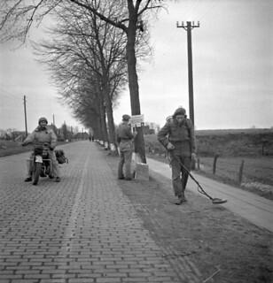 Personnel of the 7th Field Company, Royal Canadian Engineers (RCE), sweeping for mines... / Membre de la 7e Compagnie de campagne du Corps du génie royal canadien recherchant des mines...