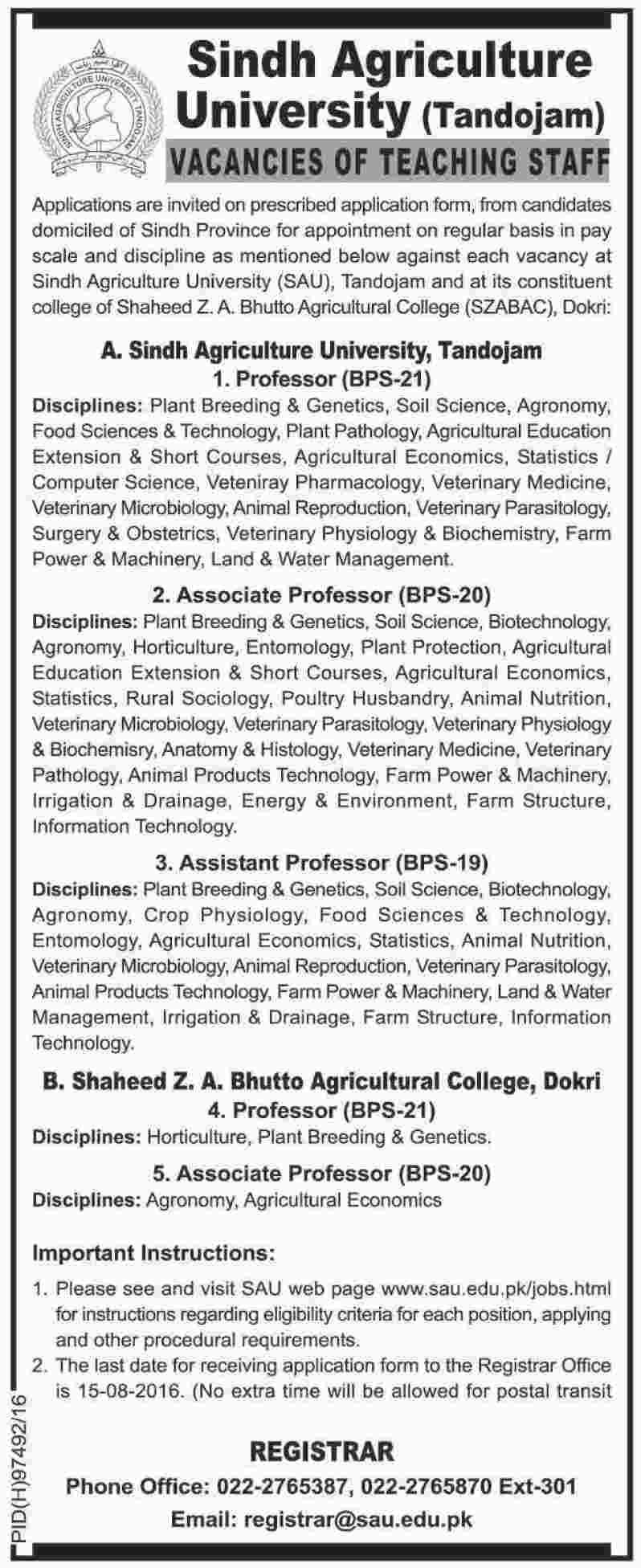 Sindh Agriculture University Tandojam Jobs 2016