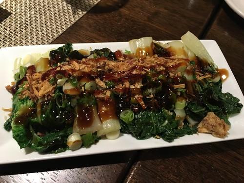 BABY BOK CHOY with teriyaki sauce, fried onions
