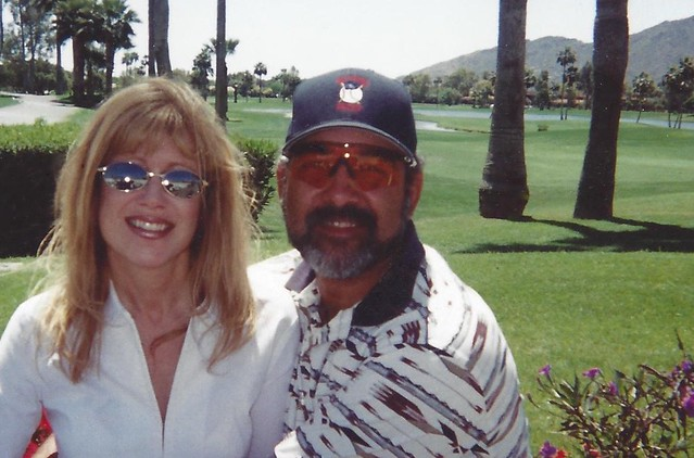 Ozzie Virgil Major League Baseball catcher for the Phillies at Alice Cooper Solid Rock Foundation Celebrity Golf Tournament Camelback Golf Club Scottsdale Arizona pictured with millionaire matchmaker Roseann Higgins