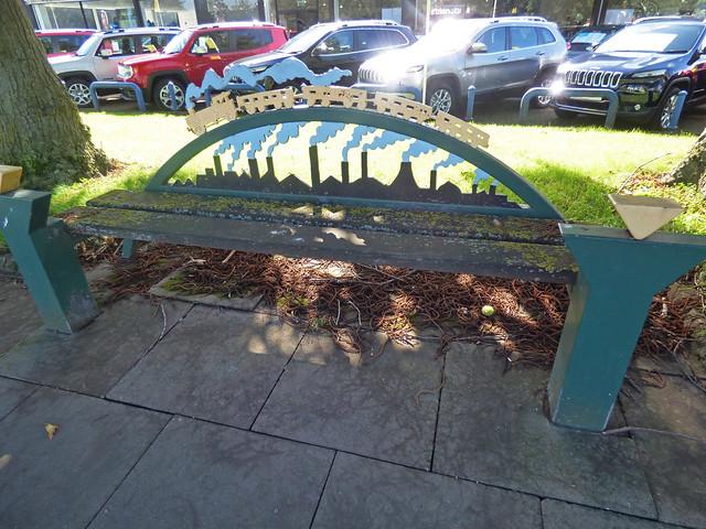 Steam locomotive bench sculpture - Oldbury Ringway, Oldbury