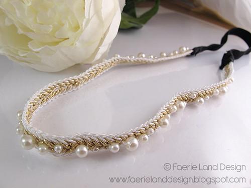 Fascia per Capelli Oro e Perle