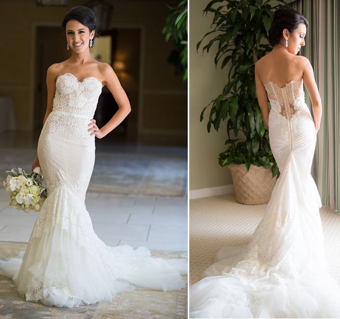 Elegant Women Mermaid Style Petite Wedding Dress Appliqued Lace Overlay Bride