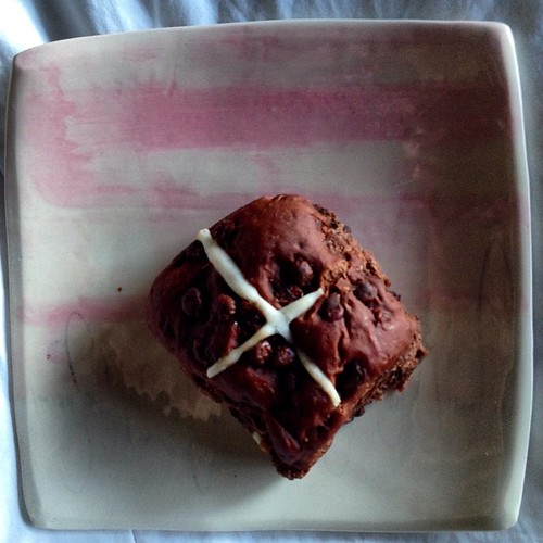 Let the long Easter weekend commence! Shop-bought hot cross bun on a homemade plate.