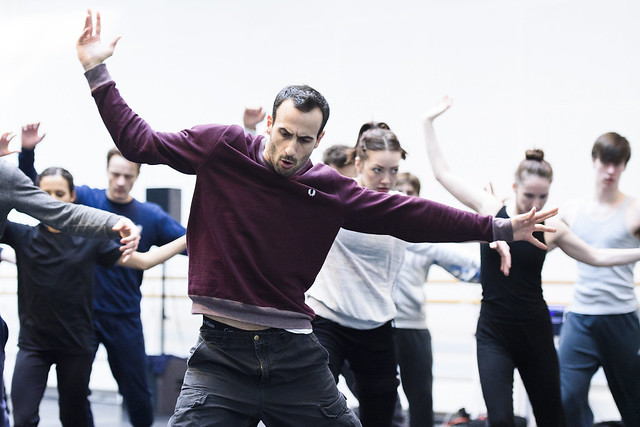 Hofesh Shechter and the corps de ballet in rehearsal for his new work for The Royal Ballet, The Royal Ballet © ROH, 2015. Photo by Tristram Kenton
