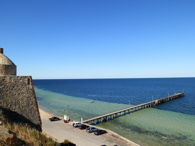 Wool Bay Jetty with temporary loo at left! Yorke Peninsula