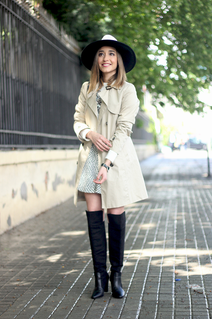 trench black and white hat black boots14