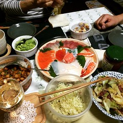pupu party (it doesn't look like a lot but now we're stuffed) #dinner #pupu #party #japan #moscato #sashimi #salad #chips #salsa #avocado #maguro #cheese #katsuo