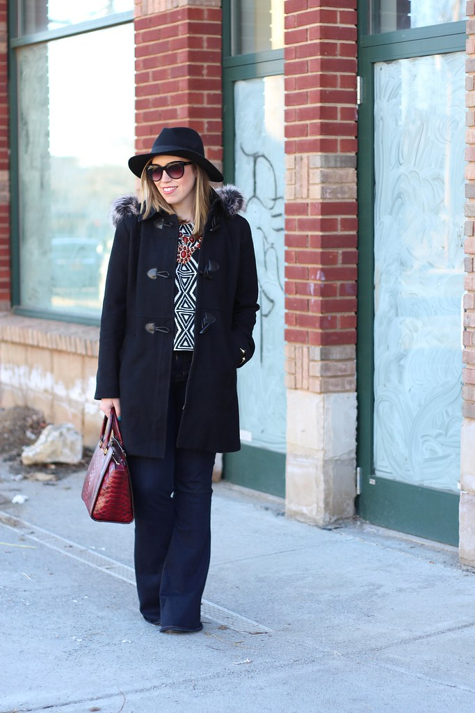 Geometric Crop Top & Flare Jeans | #LivingAfterMidnite