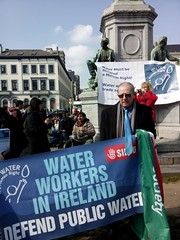 Irish activists standing for the Right2Water in Brussels