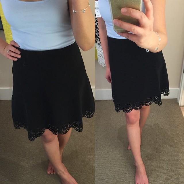 LOFT Lasercut Scallop Skirt, size 00P