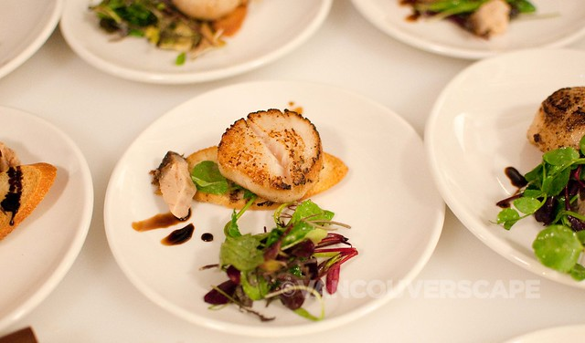 Gahan House: seared scallop, braised pork belly, apple whiskey reduction, shoot salad